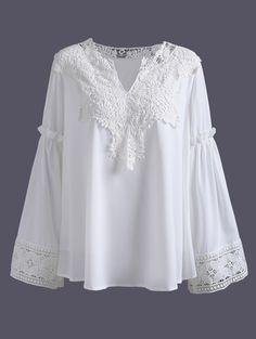 $15.98 Plus Size Lace Spliced Crochet Blouse