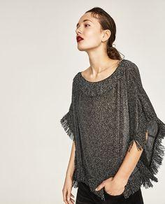 Image 2 of SHINY FRINGED TOP from Zara