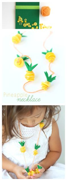 Pineapple Necklace Kids Craft - Fun summer craft idea for kids! Raising Whasians