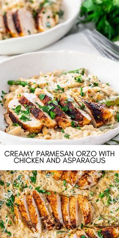 Quick and delicious Creamy Parmesan Orzo with Chicken and Asparagus that can be on your dinner table in only 30 minutes! Cheesy, creamy, delicious goodness! #easyrecipes #dinner #chickenrecipes #food #cooking #chicken #easy #recipes Easy Chicken Recipes, Easy Recipes, Parmesan Orzo, Dinner Table, Asparagus, Cooking, Food, Easy Keto Recipes, Dinning Table