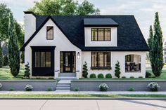 White Brick Houses, White Exterior Houses, Cottage Exterior, Modern Farmhouse Exterior, Dream House Exterior, Exterior House Colors, House Exterior Design, White Stucco House, Black Windows Exterior