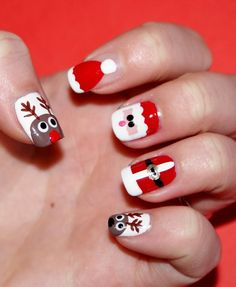 Santa Hat Nails Tutorial ...  #SantaHatNailArt #NailArtDesigns #ChristmasNailArt