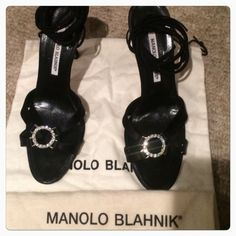 """Manolo Blahnik Lace Up Satin Heels Beautiful Manolo Blahnik satin heels! 3 1/2 inch heels. 37 inch ties  Front rhinestone accents! No stones missing! Gently used  (CB1)""""SALE DOES NOT APPLY"""" Manolo Blahnik Shoes Heels"""