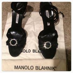 "Manolo Blahnik Ankle Tie Satin Heels Beautiful Manolo Blahnik satin heels! 3 1/2 inch heels. 37 inch ties  Front rhinestone accents! No stones missing! Gently used  (CB1)""SALE DOES NOT APPLY"" Manolo Blahnik Shoes Heels"
