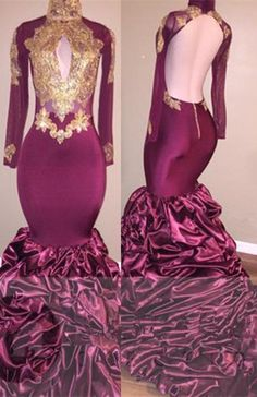 Burgundy Mermaid Long Sleeve Prom Dress With Gold Appliques From  27dress.com Junior Prom Dresses aa670b112f72