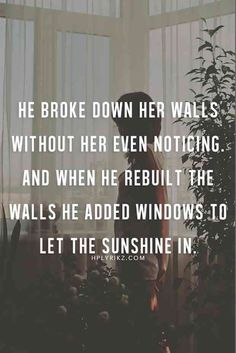 """He broke down her walls without her even noticing. And when he rebuilt the walls he added windows to let the sunshine in."""