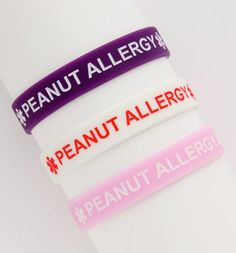 New silicone peanut allergy bracelets for kids. http://www.fashionalert.com/  we have these in green for RW