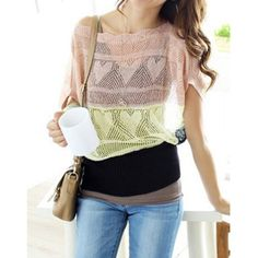 Hollow Out Design Batwing Sleeve Scoop Neck Color Block Knitwear For Women