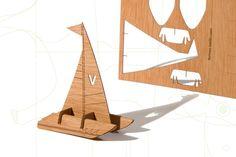 Wooden laser cut postcards - Catamaran sailboats - three-card-set, by Formesberlin.