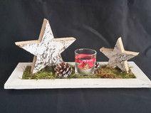 Adventsdeko Tablett mit Sternen und Windlicht