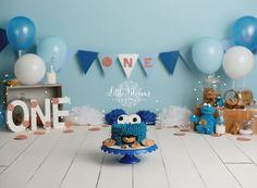 Little boy first birthday Cookie Monster cake smash. First Birthday Cookies, Birthday Cake Smash, Boy First Birthday, Cake Smash Photography, Newborn Photography, Photography Ideas, Cake Smash Pictures, Milk Cake, Cakes For Boys