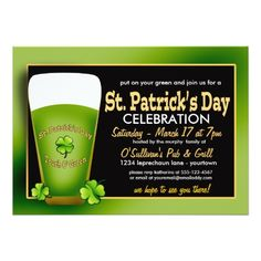 St. Patrick's Day Party Invitations Green Beer St. Patricks Day Party Invitations