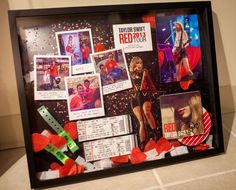A shadow box including photos, souvenirs, and memorabilia from the Taylor Swift concert. Ticket Stubs, Concert Ticket Display, Concert Ticket Gift, Taylor Swift Concert, Taylor Swift Red, Envelope Punch Board, Rock Room, Stampin Up Weihnachten, Diy Shadow Box