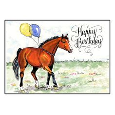 Horse Birthday Card With Hand Calligraphy Cards Happy Wishes Cool