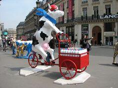 'Le Triporteur' by Martine Diotalevi - Cow Parade in Paris, France 2006;  photo by tofz4u, via Flickr