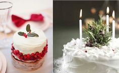 rustic christmas cake decorating ideas from Pinterest (left) and from Good Housekeeping Magazine (right)