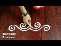 Easy Border Rangoli Designs | Simple Side Borders | Latest Border Muggulu | RangRangoli - YouTube Rangoli Side Designs, Rangoli Borders, Rangoli Designs Diwali, Beautiful Rangoli Designs, Henna Designs, Easy Diwali Rangoli, Simple Rangoli, Latest Rangoli, Antique Gold