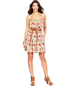 Calvin Klein Dress, Spaghetti strap belted floral printed $99 at Macy's #662990