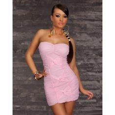 Vestido Bandeau Rosa Claro