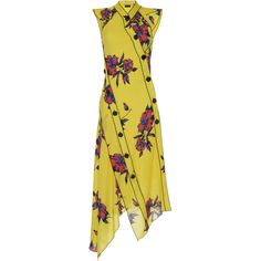 Proenza Schouler     Asymmetrical Floral Dress (5.170 BRL) ❤ liked on Polyvore featuring dresses, print, print dress, floral asymmetrical dress, yellow print dress, asymmetrical dress and pattern dress