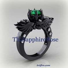Gothic Grace Wings and Skulls 1.3ct Sim. Emerald Black Rhodium Setting TheSapphireRose on Artfire.com