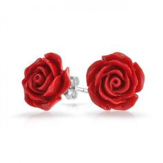 Bling Jewelry 925 Sterling Silver Red Coral Rose Flower Stud Earrings 10mm