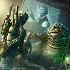 Boba Fett and Jabba the Hutt. fan art by Kerem Beyit Star Wars Fan Art, Star Wars Rpg, Star Trek, Starwars, Star Citizen, Star Wars Images, Star Wars Boba Fett, Jango Fett, Star Wars Collection