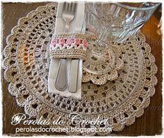 * Pérolas do Crochet: Sousplat em crochet - porta-copos e posrta-guardan...