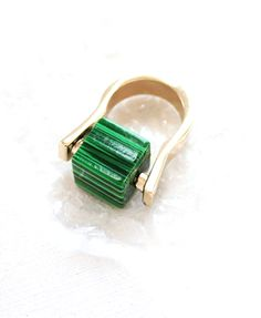 Green Retro Style Gemmy Ring