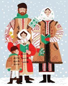 People Illustration, Illustrations, Cute Illustration, Russian Folk Art, Ukrainian Art, Ukrainian Recipes, Watercolor Christmas Tree, Christmas Art, Ukrainian Christmas Image