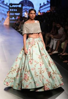 Love this mint silver sequins off shoulder lehenga set by Anushree Reddy #Frugal2Fab