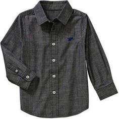 Wrangler Toddler Boy Long Sleeve Chambray Woven Shirt, Size: 5 Years, Black