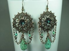 Turquoise and antique copper bohemian style earrings--perfect for anytime of year and would also make a great gift.