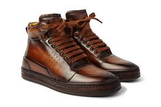 Berluti playtime burnished leather high top brown