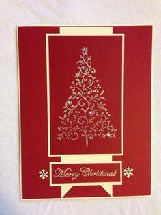 Handmade card, Christmas, Christmas tree, red, merry Christmas