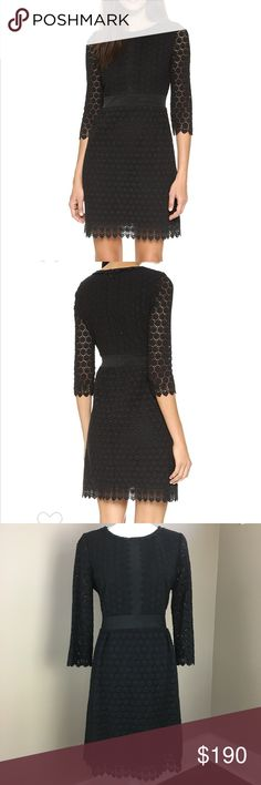 "DVF Nolly Crochet Black Dress LBD 10 DVF Nolly Crochet Black Dress LBD  • size 10 • armpit to armpit-19"" • sleeve- 19.5"" • length- 35""  A bold geometric design lends a modern touch to this crocheted lace Diane von Furstenberg dress. Mesh trim accents the bodice and waist, and scalloped trim accents the edges. Hidden back zip. Lined shell and sheer 3/4 sleeves.  Fabric: Crochet lace. Shell: 100% cotton. Trim: 89% nylon/11% spandex. Lining 1: 100% nylon. Lining 2: 100% polyester. Dry clean…"