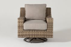 You're going to wish you could spend all day, every day outdoors when you experience the comfort, quality and versatility of our Capri swivel chair. A rust-free powder-coated aluminum frame serves as a sturdy foundation for handwoven 100% recyclable resin wicker. Made to mimic the look and feel of natural wicker, this synthetic version is actually more durable, easy-to-maintain, and weather resistant. The cushions are even upholstered in an ultra-soft, solution-dyed polyester fabric that's… Patio Chairs, Outdoor Chairs, Outdoor Furniture, Swivel Recliner, Contemporary Frames, Wood Dust, Grey Chair, Outdoor Fabric, Seat Cushions