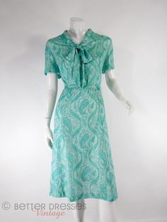 70s Blue and Green Paisley Secretary Dress  lg xl plus by BeeDeeVintage, $35.00