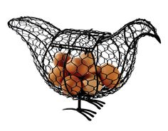 It's a chicken made of chicken-wire! Black finish and large hinged opening in the back turns egg storage into a fun talking point sculpture. Holds up to 15 eggs. W36cm, H23cm.  £12.00