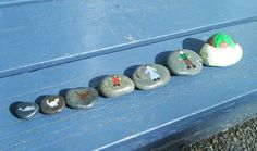 Painted rocks - Look at this website, there are loads of ideas on what to do with rocks. For playgroup, you can make a set of stones with drawings. For Kindergarten A, please make a set with letters and for Kindergarten B, make a set with words.
