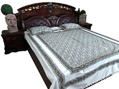 Bohemian Bedspread- India Inspired Bedding Brown Green White Paisley Printed Cotton Bedcover Mogul Interior http://www.amazon.com/dp/B00QQ01ZRK/ref=cm_sw_r_pi_dp_2wVIub11BJ71V