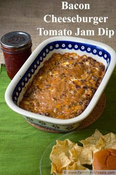 Bacon Cheeseburger Tomato Jam Dip--tomato jam gives bold flavor to this hearty beefy dip. www.farmfreshfeasts.com