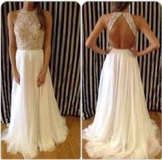 Pure Handmade White Graduation Dress 2014 New Arrival Sexy High Neck Beaded Top White Chiffon Prom Dresses Long Open Back $163.21