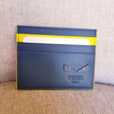 89843e5f42e NIB Fendi Blue Yellow Leather Bag Bugs Card Holder NWT