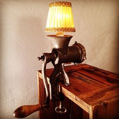 Meat Grinder Lamp. More industrial lamps and vintage home decor at www.rustyremakes.com.
