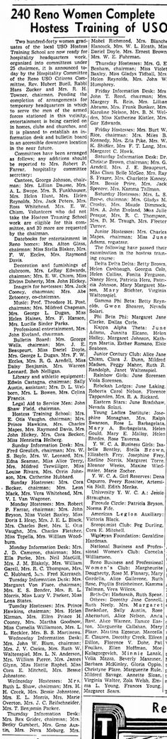Nevada State Journal, 4 May 1942, Mon, Page 10  1942 May 4 NSJ Hostess Training of USO Clara Belle McGee (Barnett)