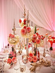 Fabulous #centerpiece at this #pink #uplighting #wedding #reception ! #diy #fun #ideas #inspiration #rentmywedding #unique