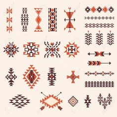 Discover thousands of images about Illustration of Native american navajo aztec pattern vector elemets design set vector art, clipart and stock vectors. Native American Patterns, Native American Symbols, Native American Design, Native Design, Indian Patterns, Tribal Patterns, Native American Indians, Beading Patterns, Native American Drawing