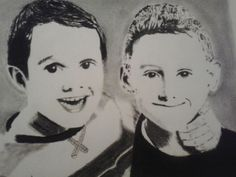 A pencil and charcoal #drawing of two of my nephew's.
