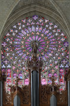 Northern rose window and main organ of the Cathédrale de Saint-Gatien in Tours, France. Cathedral was built between 1170 and 1547.